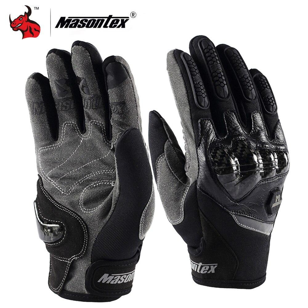 Masontex Motorcycle Gloves Carbon Fiber Shell Moto Motocross Glove Summer Breathable Motorbike Full Finger Touch Screen Gloves